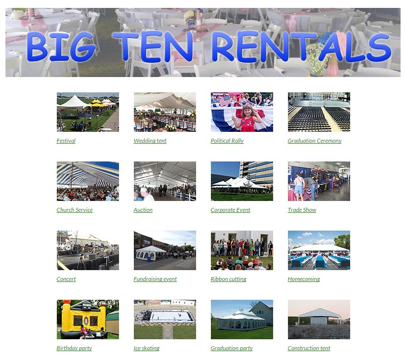 big ten rentals all types of event party rentals