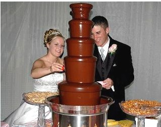 Nebraska chocolate fountain rental wedding bride groom 11365 Chocolate Fountain Rentals