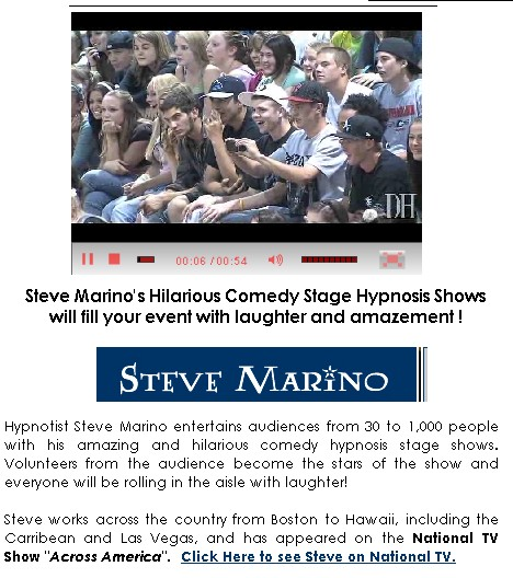 comedy stage hypnotist steve marino nationwide