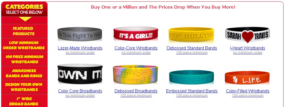 Virginia custom wristbands silicone styles 1 Wristbands