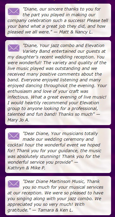 diane martinson music testimonials wedding