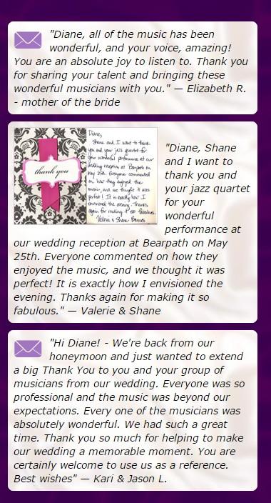 diane martinson music testimonials weddings