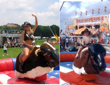 girl on mechanical bull rental ride kid too 13065