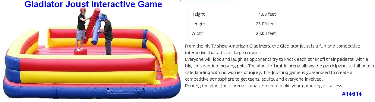 gladiator joust interative inflatable game rental 14614