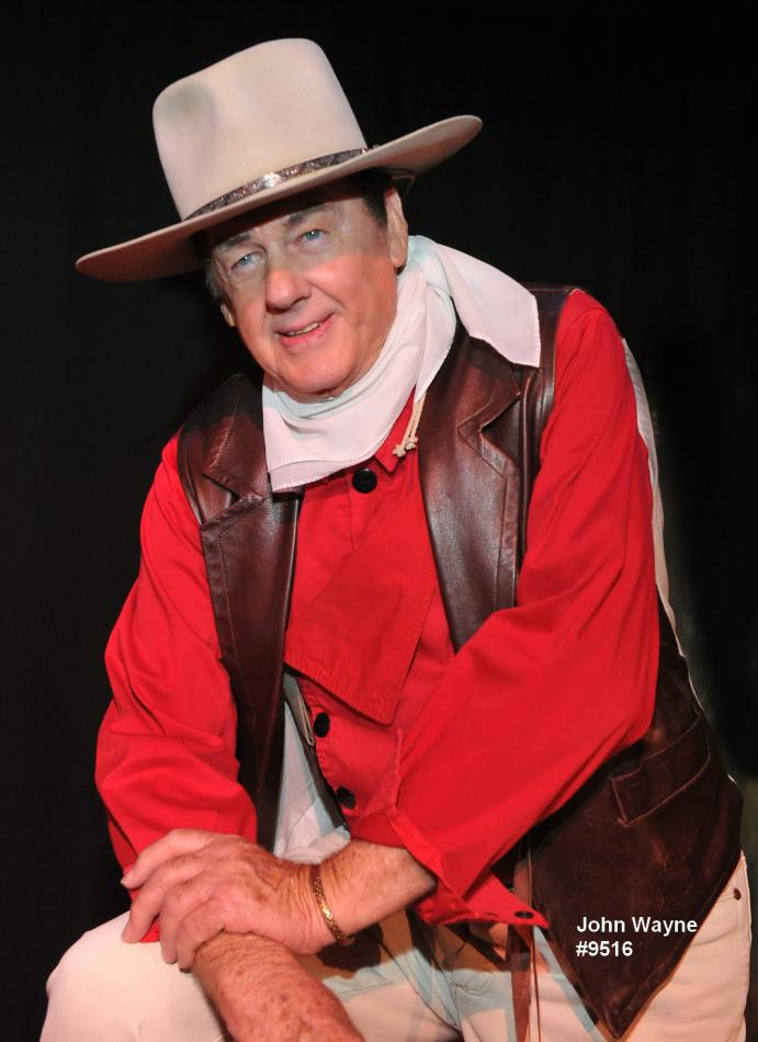 john wayne impersonator red shirt and hat
