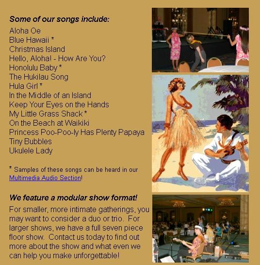 johnny pineapple hawaiian tropical live music song list ideas