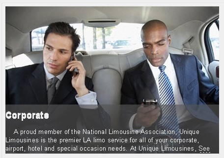 limousine limo rental corporate events los angeles hollywood california 2 men in corporate limo