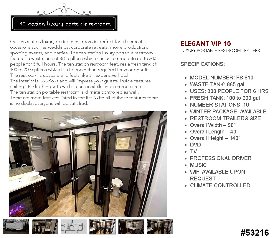 luxury 10 stall restroom trailer rental 53216