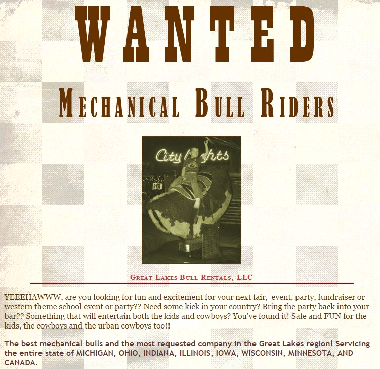 mechanical bull rental michigan
