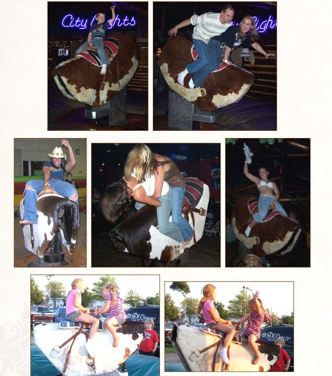 mechanical bull rental photos of kids adults riding