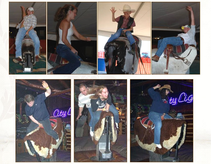 mechanical bull rental photos people having fun riding bulls