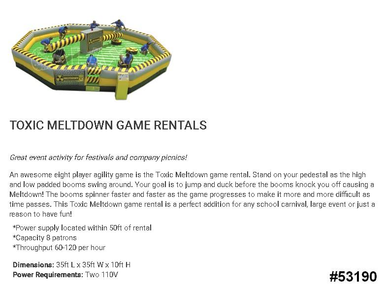 meltdown wipeout interactive game rentals 53190 Meltdown Wipeout Ride