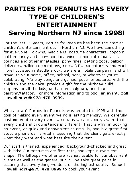 parties for peanuts childrens entertainment northern NJ entertainers