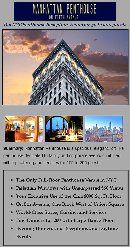 unique hall manhattan venue penthouse rentals